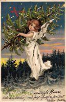 Glitzer Glückwunsch Weihnachten, Engel mit geschmücktem Weihnachtsbaum
