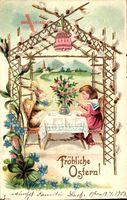 Glückwunsch Ostern, Mädchen und Osterhase trinken Tee, Glocke
