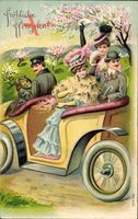 Glückwunsch Pfingsten, Baumblüte, zwei Männer und zwei Frauen im Auto