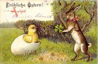 Glückwunsch Ostern, Küken schlüpft aus Ei, Osterhase mit Kleeblatt