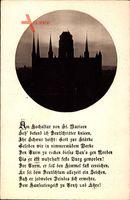 Gdańsk Danzig, Blick auf die Kirche St. Marien bei Dämmerung