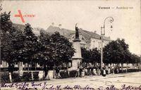 Versecz Serbien, Andrassy ter, Straßenpartie mit Blick auf Denkmal