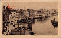 Gdańsk Danzig, Fischmarkt und Am brausenden Wasser, Dampfschiff
