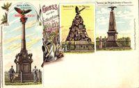 Gruß von den Schlachtfeldern um Metz Moselle,Denkmäler diverser Divisionen und Briganden