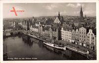Gdańsk Danzig, Blick von der grünen Brücke, Dampfschiff, Kirchturm