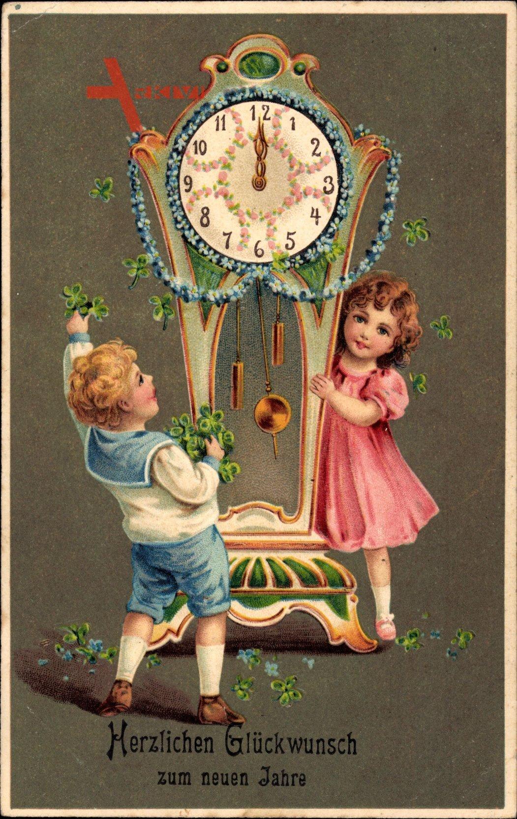 Glückwunsch Neujahr, Uhr, Kleeblätter, Junge Mädchen