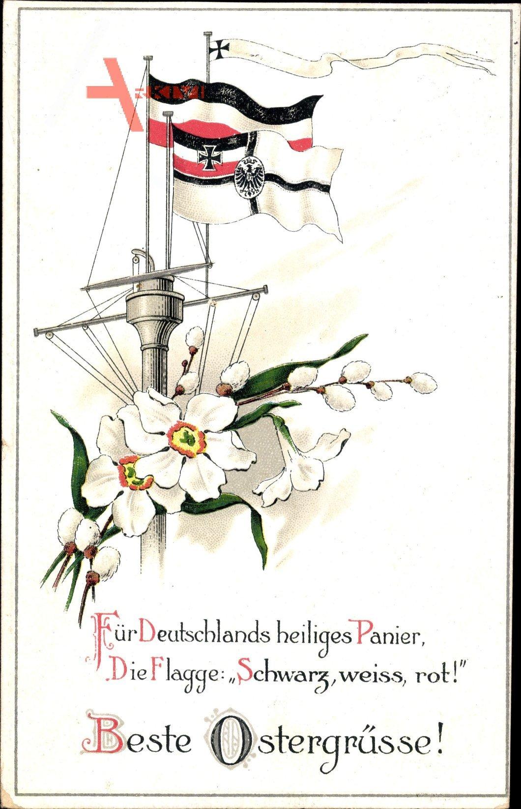 Glückwunsch Ostern, Fahnen, Schiffsmast, Weidenkätzchen