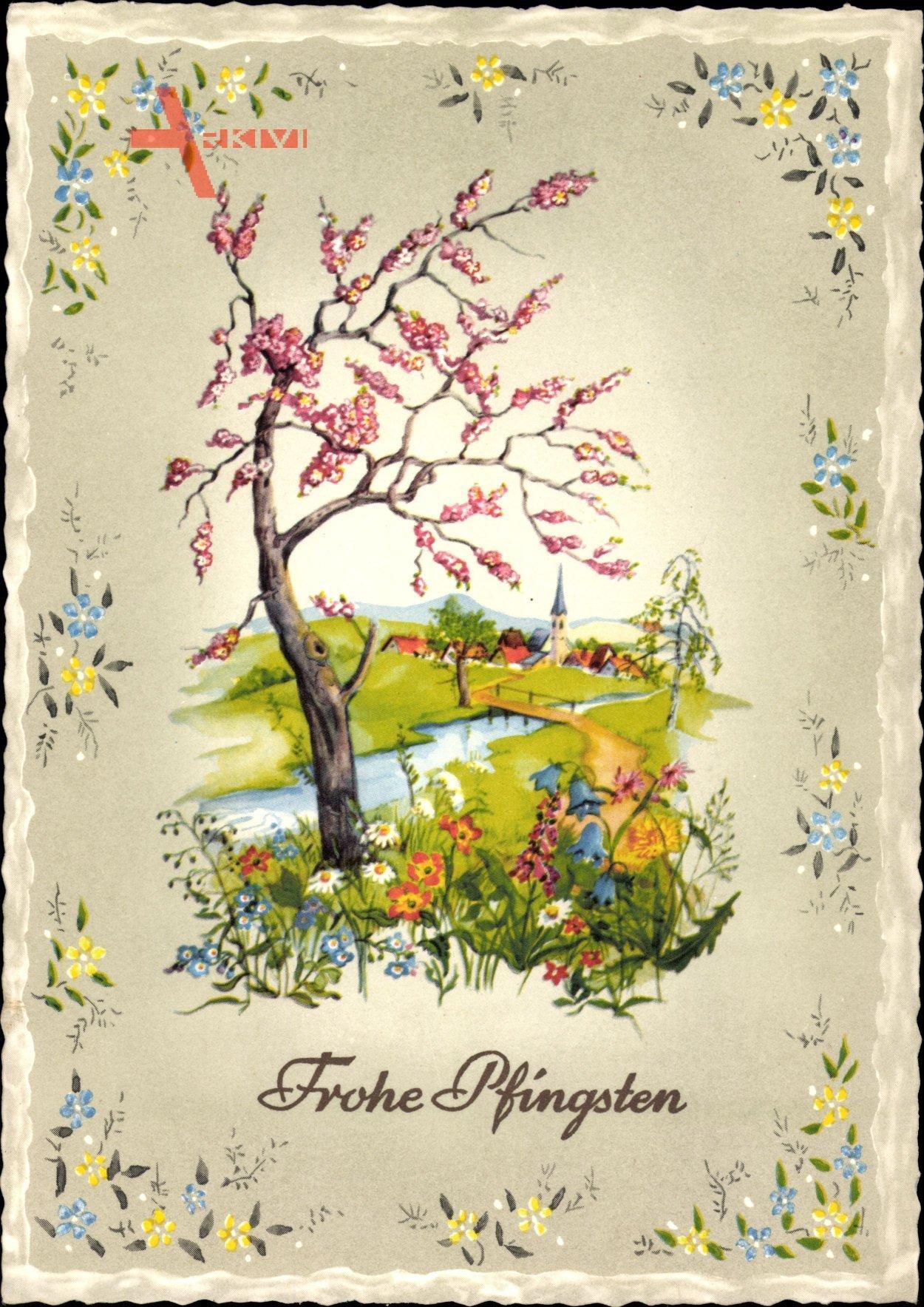 Glückwunsch Pfingsten, Baum, Fluss, Blumenfeld, Kirchturm
