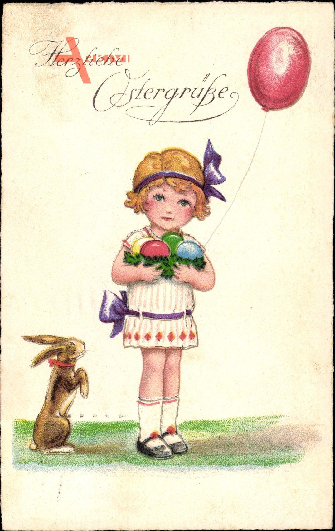 Glückwunsch Ostern, Mädchen mit Ostereiern, Osterhase, Ballon