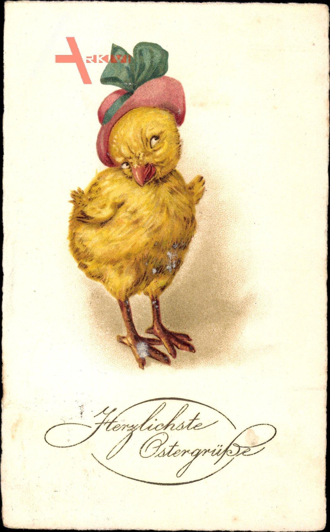 Glückwunsch Ostern, Küken in modischem Hut, Kitsch