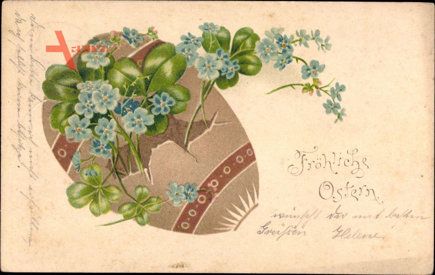 Glückwunsch Ostern, Buntes Osterei, Kleeblätter