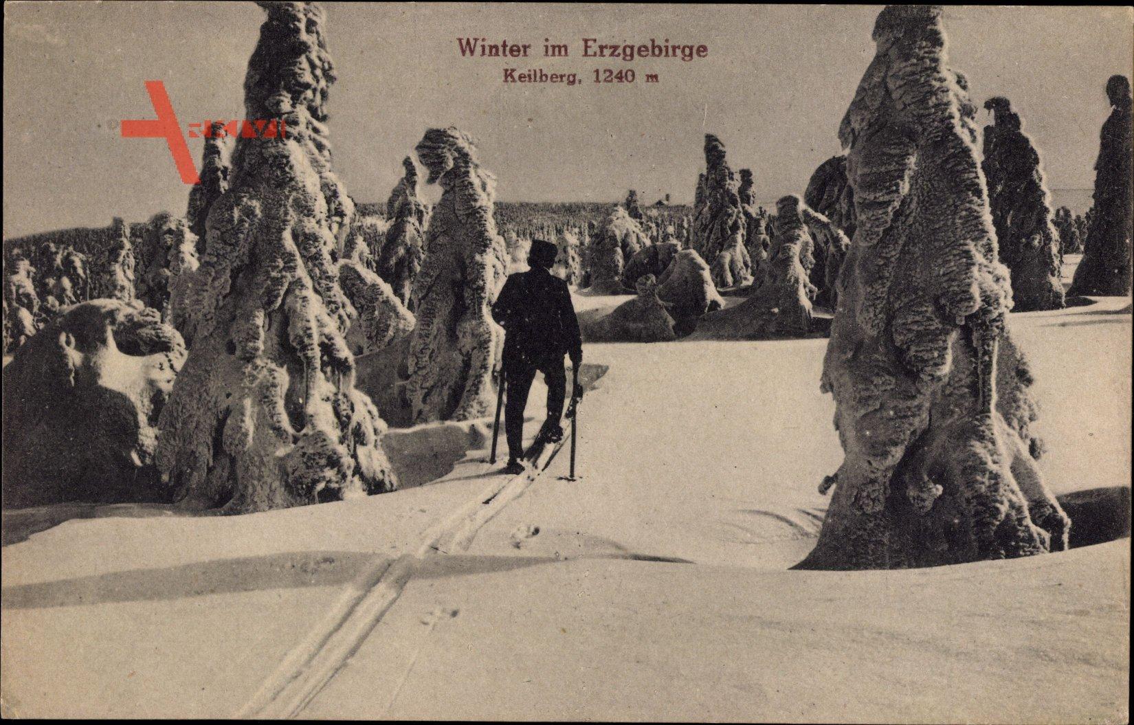 Winter im Erzgebirge, Keilberg, Skifahrer, Winterlandschaft, Frost, Schnee