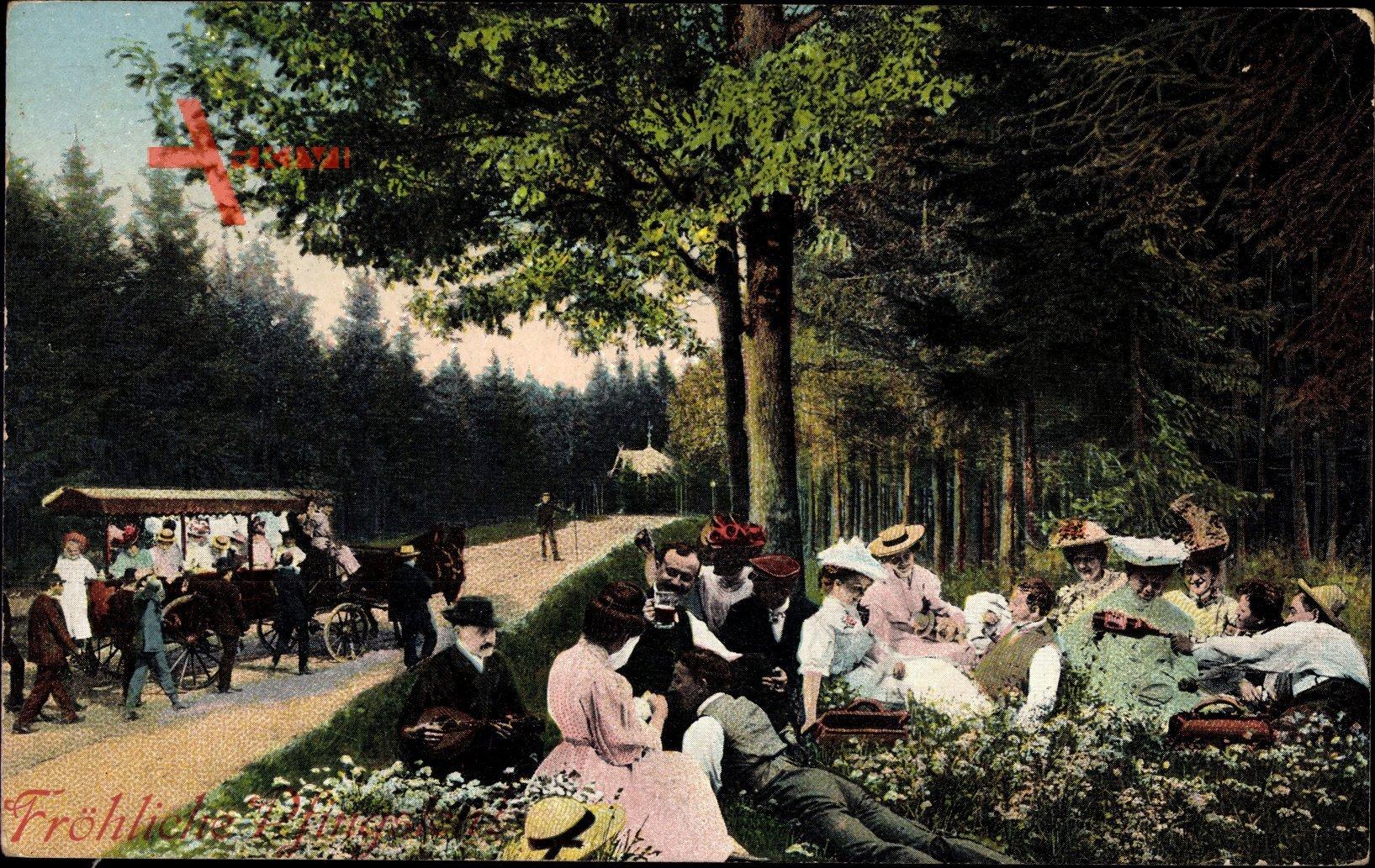 Glückwunsch Pfingsten, Spaziergänger im Wald, Picknick