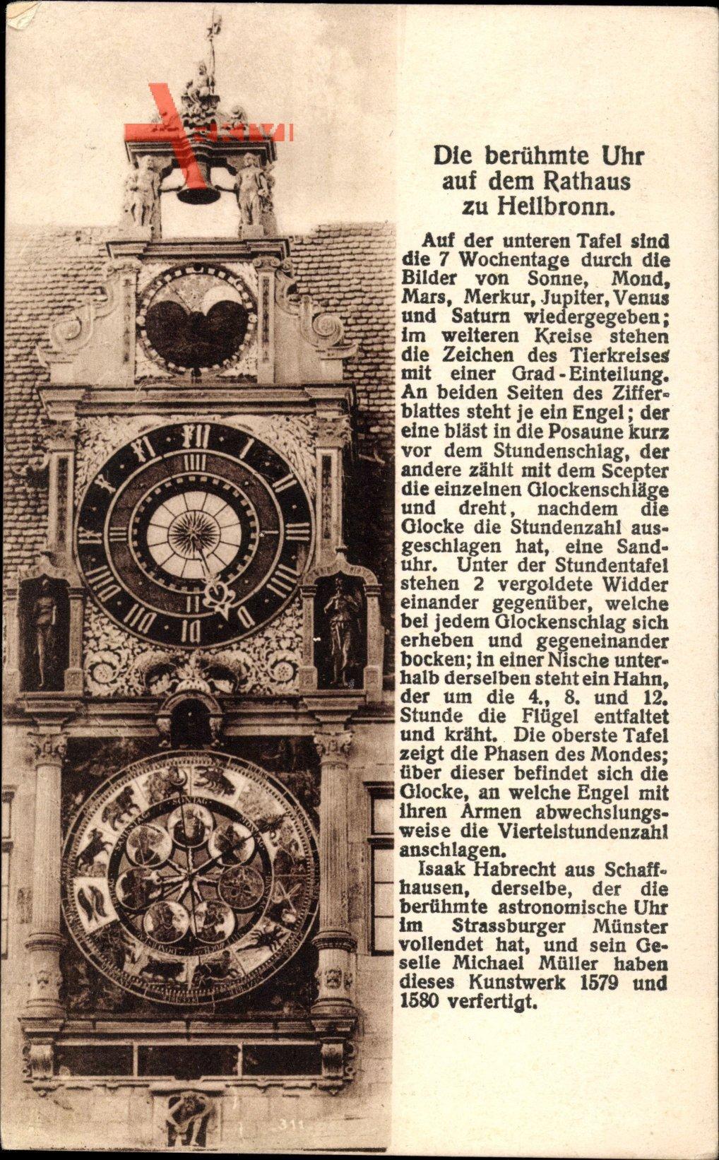 Heilbronn in Baden Württemberg, Blick auf die Uhr am Rathaus, Glocke