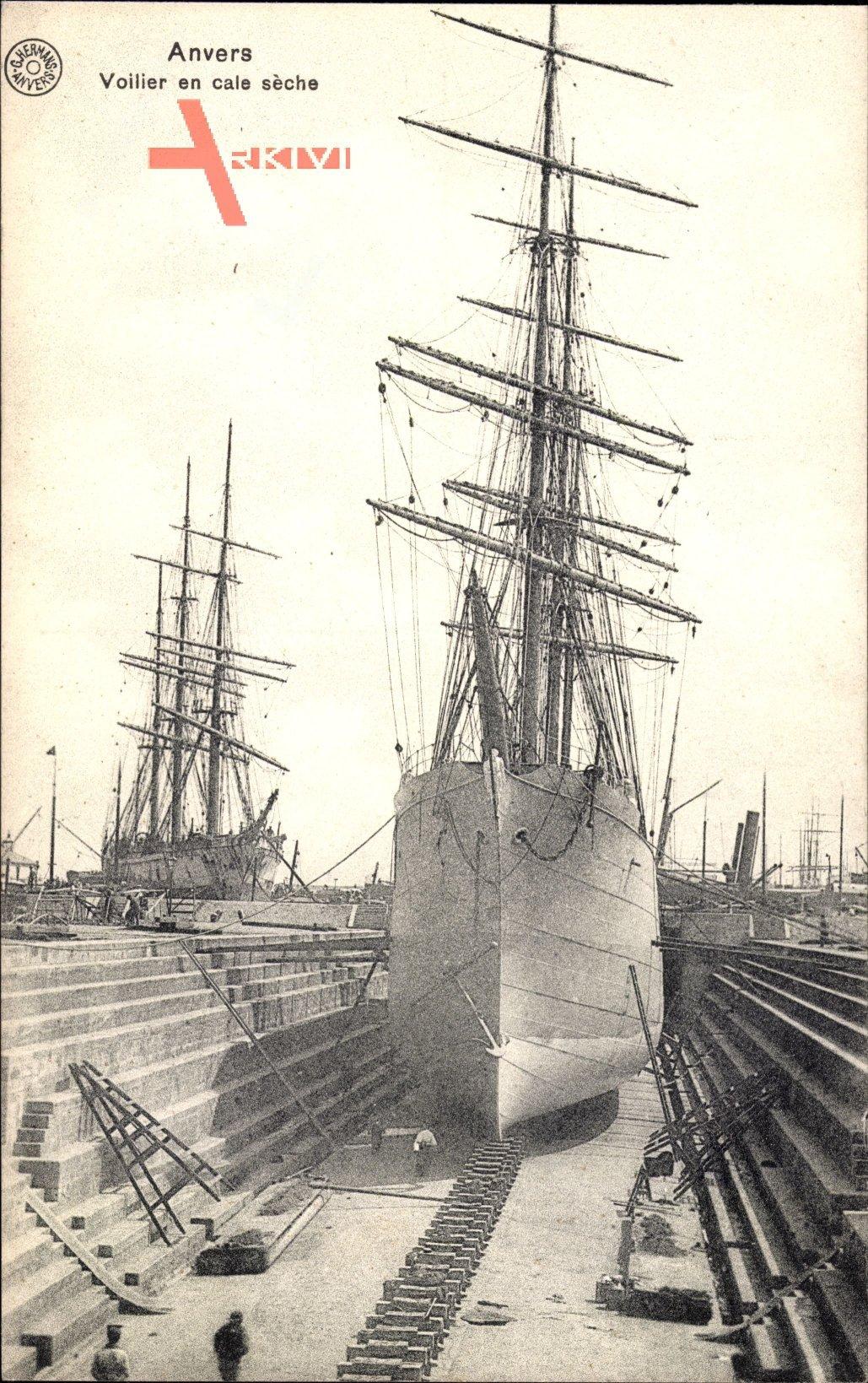 Antwerpen Flandern, Voilier en cale sèche, Segelschiff im Trockendock