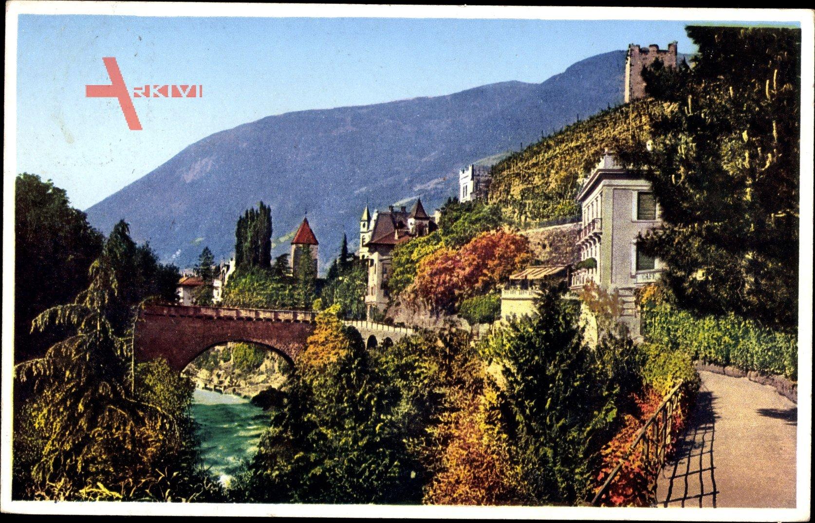 Merano Meran Südtirol, Passeggiata Gilf, Brücke, Promenade, Herbst