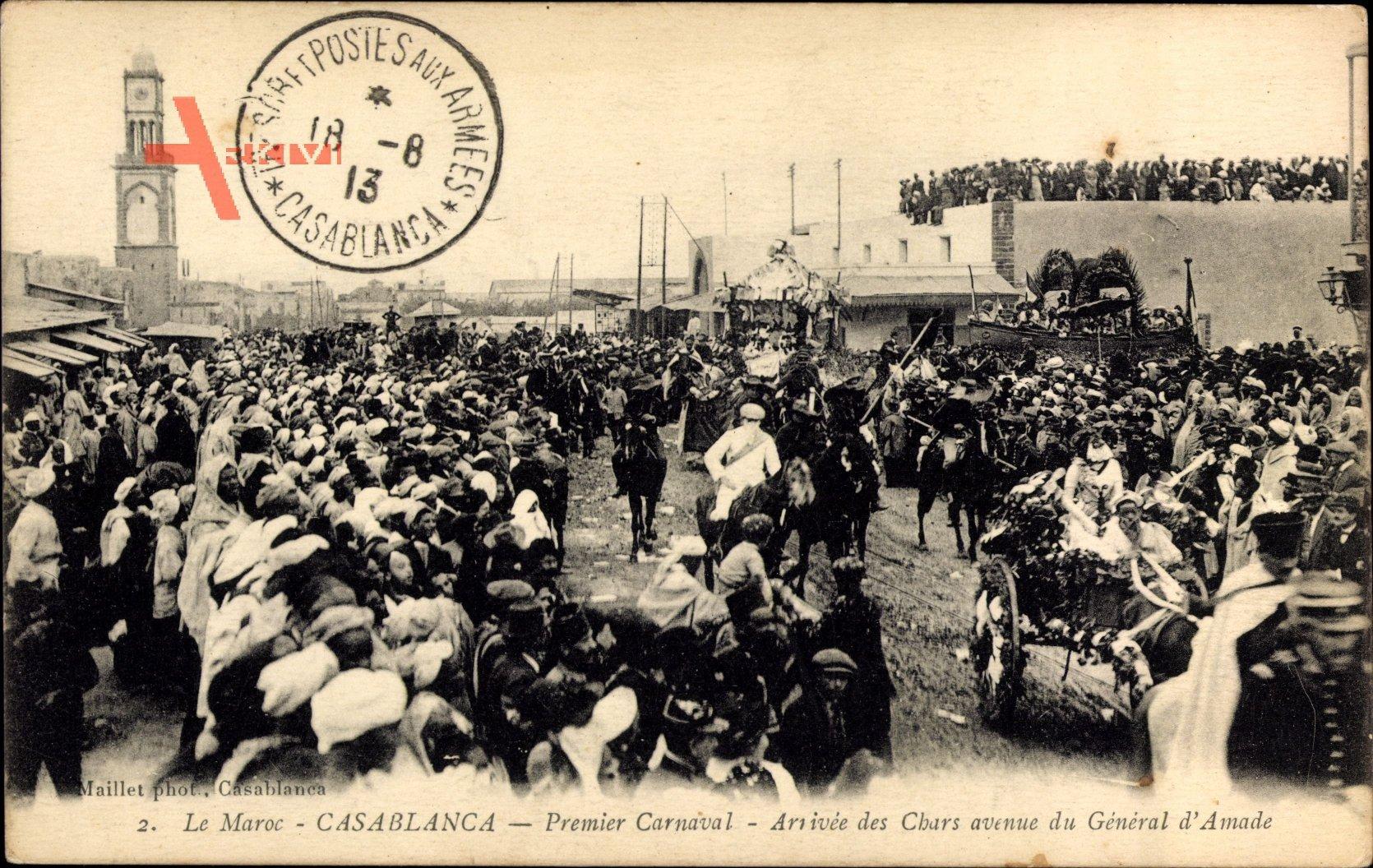 Casablanca Marokko, Premier Carnaval,Arrivee des Chars avenue General dAmade