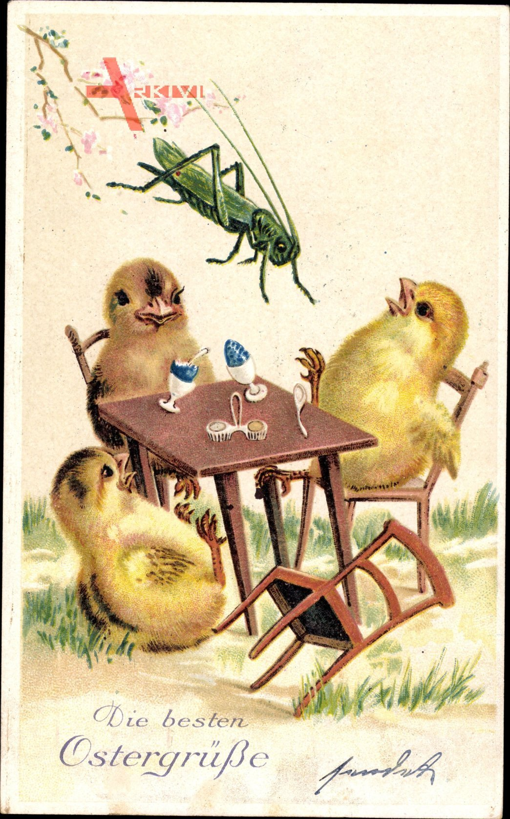 Glückwunsch Ostern, Küken am Tisch, Heuschrecke
