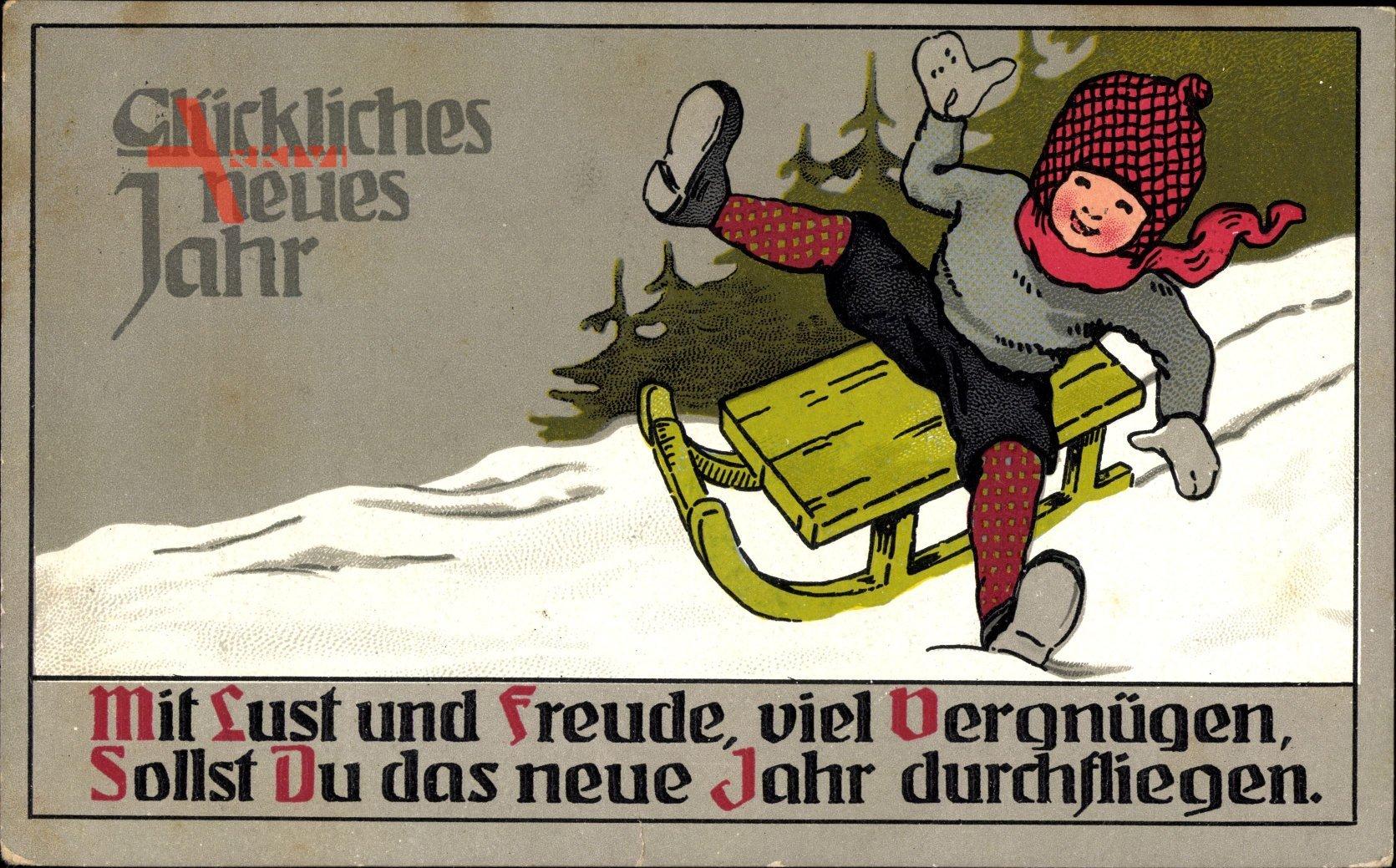 Glückwunsch Neujahr, Schlittenfahrt, Kind, Wintersport