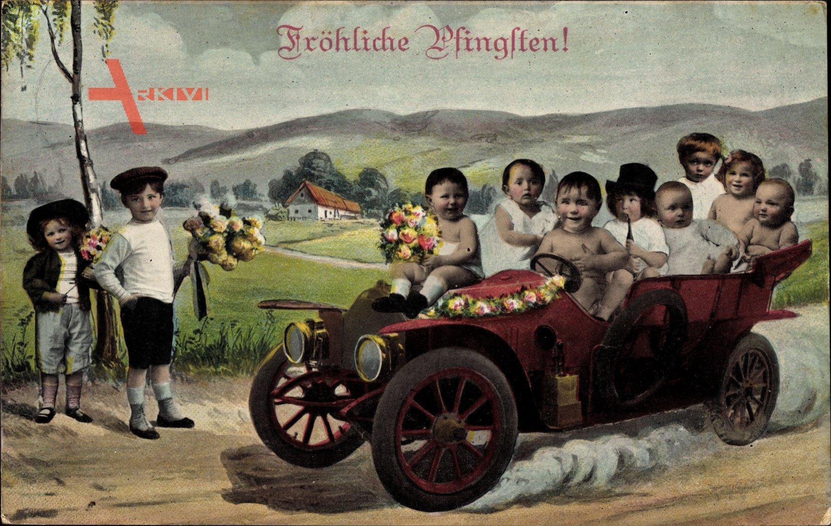 Glückwunsch Pfingsten, Kinder fahren Auto, Fotomontage