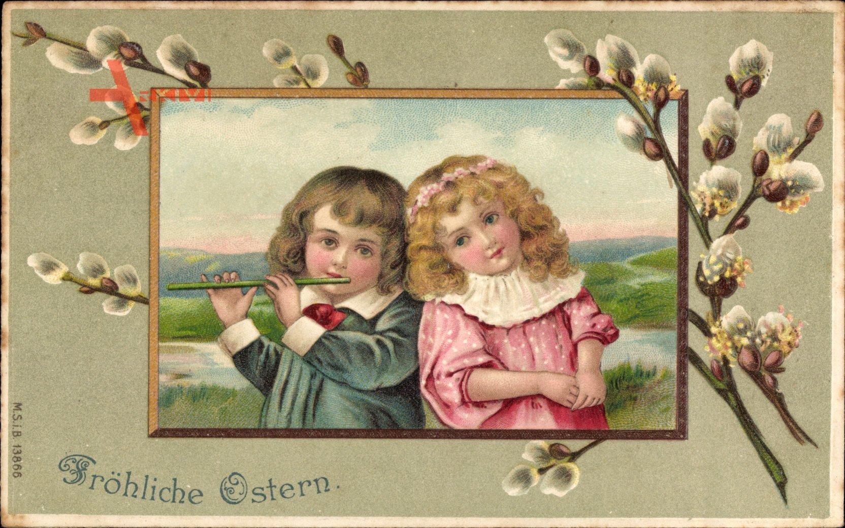 Glückwunsch Ostern, Zwei Kinder, Weidenkätzchen, Flöte