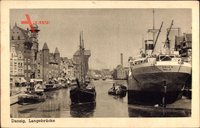 Gdańsk Danzig, Langebrücke, Blick auf den Hafen, Dampfer Orla II Oslo