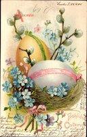 Glückwunsch Ostern, Ostereier, Weidenkätzchen, blaue Blüten