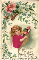 Glückwunsch Ostern, Mädchen mit Ostereiern, Glocken