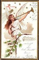 Glückwunsch Weihnachten, Engel mit Trompete, Sternschnuppe