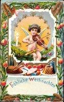 Glückwunsch Weihnachten, Engel mit Geige, Festessen, Kuchen