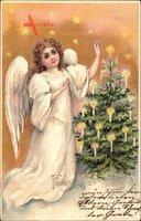 Glückwunsch Weihnachten, Engel mit Weihnachtsbaum