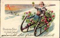 Glückwunsch Neujahr, Kinder auf einem Schlitten, Kleeblätter