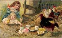 Material Glückwunsch Ostern, Ostereier, Küken, Hühner