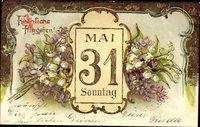 Glückwunsch Pfingsten, Märzenbecher, Flieder, Datum
