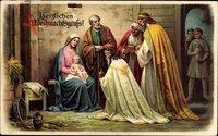 Glückwunsch Weihnachten, die heiligen drei Könige, Jesus, Maria, Josef