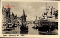 Gdańsk Danzig, Langebrücke mit Krantor und Dampfer Orla II Oslo