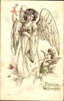 Glückwunsch Weihnachten, Zwei Engel mit Blumen auf einer Wolke