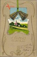 Passepartout Glückwunsch Ostern, Glocken, Landschaft, Kirche