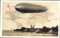 Historische erste Weltreise des Luftschiffes Carl Zeppelin, LZ 127, 1929