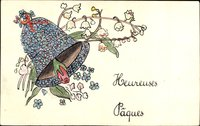 Glückwunsch Ostern, Heureuses Paques, Glocke, Glockenblumen