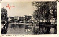 Naundorf Radebeul, Partie am Fluss mit Enten, Wohnhäuser