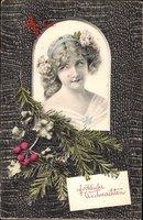 Passepartout Frohe Weihnachten, Junge Frau, Tannenzweige