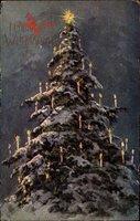 Frohe Weihnachten, Tannenbaum, Stern, Kerzen, Schnee