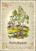Glückwunsch Pfingsten, Birken, Frühlingsidyll, Kitsch