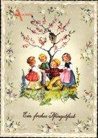 Glückwunsch Pfingsten, Kinder tanzen um einen Baum, Vogelhaus