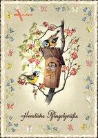Glückwunsch Pfingsten, Vögel, Vogelhaus, Spatzen