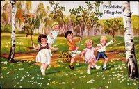 Glückwunsch Pfingsten, Kinder mit Birkenästen auf der Wiese