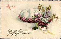 Glückwunsch Ostern, Ostereier, Birkenast, Brief