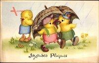 Glückwunsch Ostern, Küken im Regen, Regenschirm