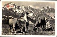 Auf der Alm, Blick auf die Zugspitzgruppe, Bauern melken Kühe